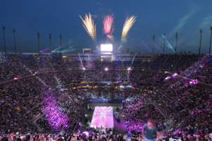 Fireworks go off during the Opening Night ceremonies of the 2014 US Open.