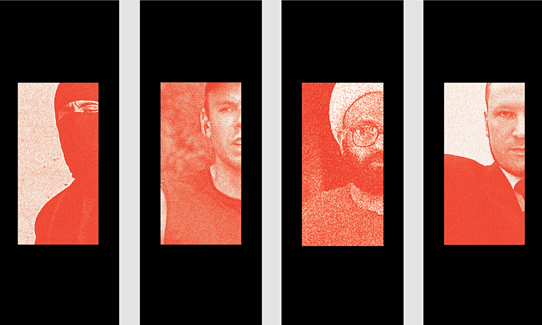 Fatally flawed … Jihadi John, Andreas Lubitz, Man Haron Monis and Anders Breivik. Photomontage: Andr