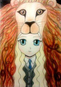 Artisitic impression of Luna Lovegood in her lion dress